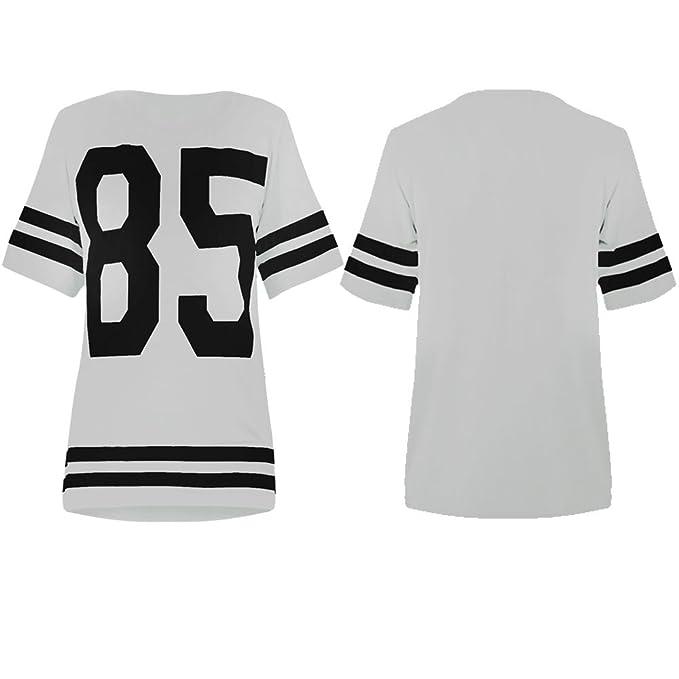 Mujer Oversize 85 Béisbol Top Baggy Camiseta de fútbol americano Jersey Blanco M/L