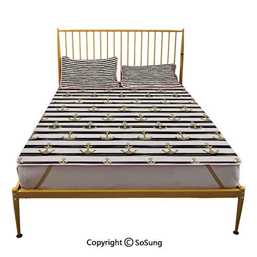 (Anchor Creative Queen Size Summer Cool Mat,Horizontal Black Stripes with Nautical Symbols Marine Theme Cruise Ocean Trip Sleeping & Play Cool Mat,Black White Gold)