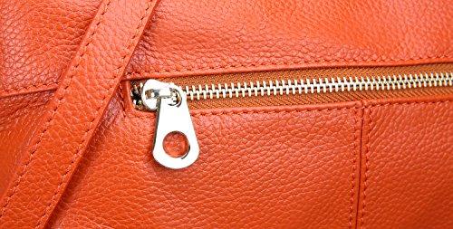 Heshe Handbags Satchel Orange Bags Purse Leather Designer Shoulder Fashion Women Crossbody qx0wUq