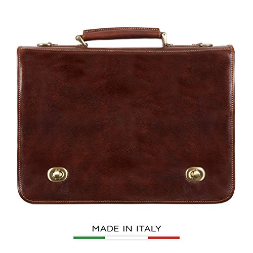 Luggage Depot USA, LLC Men's Alberto Bellucci Italian Leather Double Compartment Laptop Messenger Bag, Brown, One Size by Luggage Depot USA, LLC