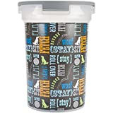 Paw Prints 15 Pound Pet Airtight Food Storage Container, Wordplay Design, Includes Snap-In 1 Cup Measured Scoop, 12.5 x 9.75 x 13.38 Inches, 37715