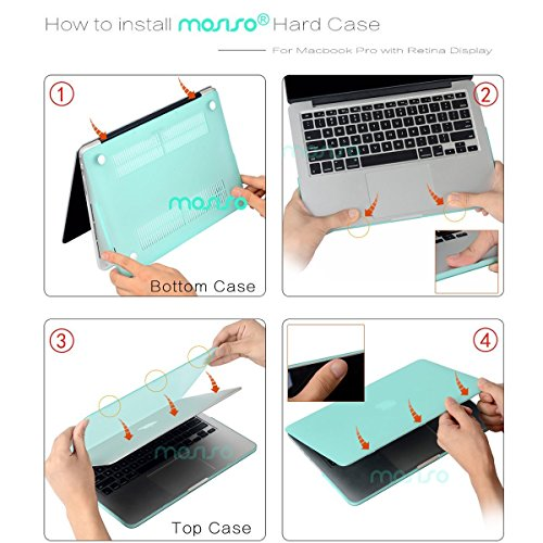MOSISO Case Only Compatible with Older Version MacBook Pro Retina 13 inch (Model: A1502 & A1425)(Release 2015-end 2012),Plastic Pattern Hard Shell&Keyboard Cover&Screen Protector, White Pink Strip
