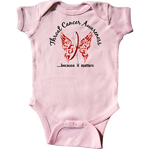 inktastic - Throat Cancer Butterfly 6.1 Infant Creeper 6 Months Pink ()