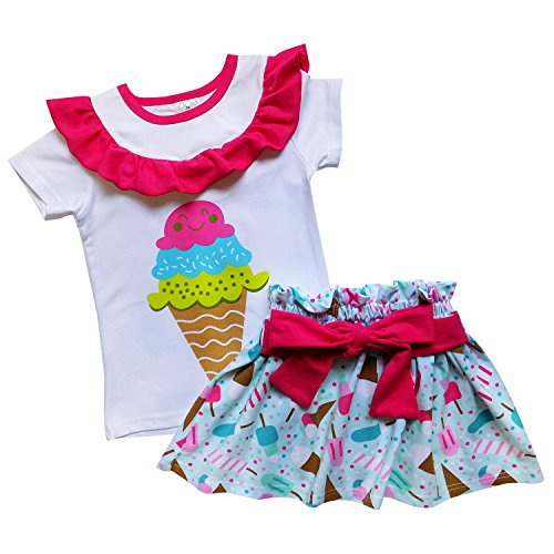 So Sydney Toddler & Girls Ice Cream Summer Treats Shorts Skirt Dress Collection (L (5), Happy Cone Skirt Set)