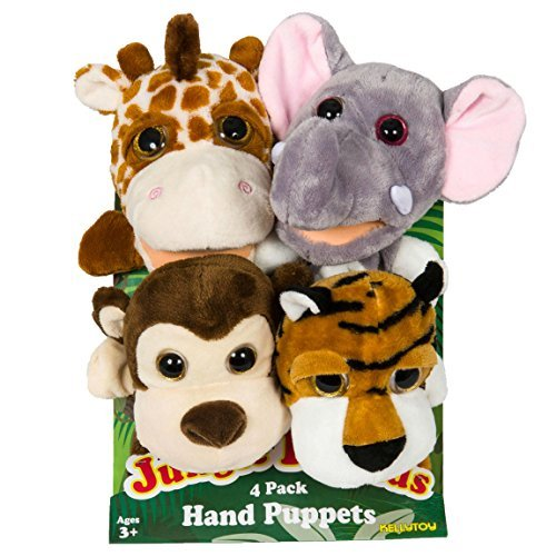 Jungle-Friends-Plush-Hand-Puppets-4-Pack