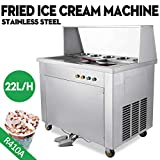 Mandycng Commercial Dual Pans Thai Fried Ice Cream Machine, Yogurt Ice Cream Roll Maker w/ 5 Boxes Night Market Supermarket Rapid Freeze Heavy Duty Public Park