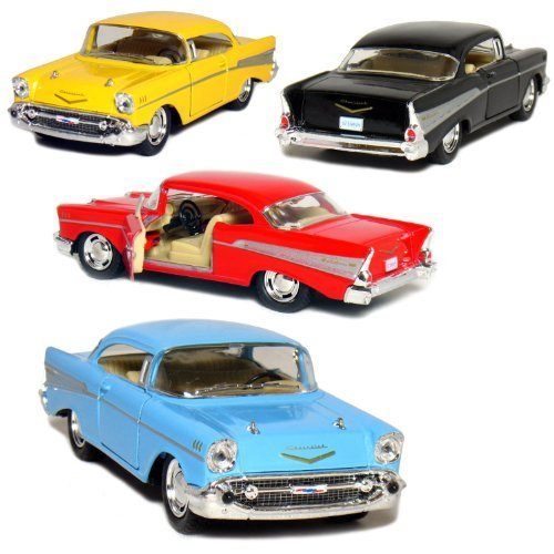 KiNSMART Set of 4: 1957 Chevy Bel Air Coupe 1:40 Scale - Toy 50s