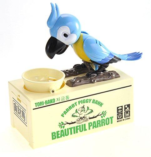 PowerTRC Cute and Adorable Parrot Coin Bank Saves Coin Consumes Money Saving Box Blue -
