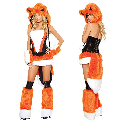 Ailisen Adult Womens Sexy Orange Halloween Party Fox Costumes Outfit Fancy Animal Cosplay Dress With Big Tail -