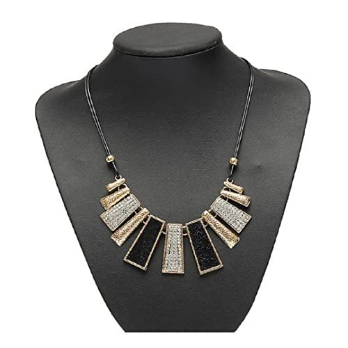 Crystal Irregular Geometry Pendant Statement Necklace Leather Chain by 24/7 store for cheap
