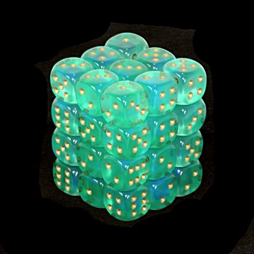 Chessex Dice d6 Sets: Borealis Light Green with Gold - 12mm Six Sided Die (36) Block of Dice