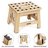 """Jiodux Upgraded Super Strong Folding Step Stool for Toddler -Opens Easy with Hand,8.8"""" Height Handmade Wooden Step Stool for Kids and Adults"""