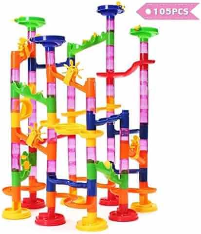 FUNTOK Marble Run Toy, Marble Race Coaster Set Marble Run Railway Toys Construction Building Blocks Toys Set Gift for Kids Toddler 105pcs