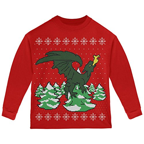 Ugly Christmas Sweater Dragon Winter Toddler Long Sleeve T Shirt