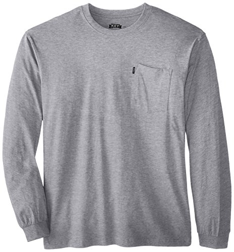 (Key Apparel Men's Big-Tall Heavyweight Long Sleeve Pocket T-Shirt, Heather Grey, 4X-Large/Tall )