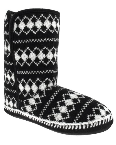 Capelli New York Diamond Printed Knit Boot With Fold Down Dames Indoor Slippers Zwart