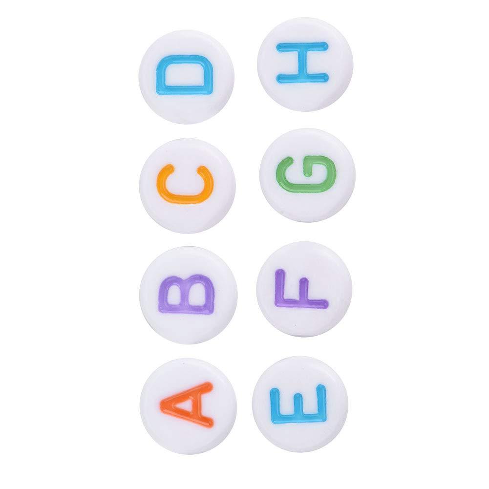500Pcs 7 Colori Acrilico Lettera Perline A-Z Perline Alfabeto Rotondo per Collana Braccialetto Fai da Te Hongzer Perline Lettera