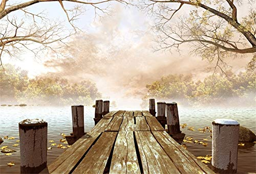 AOFOTO 10x7ft Fantasy Wooden Dock Backdrop Mysterious Winter Fallen Dry Leaves Lakeside Wood Wharf to Hazy Forest Background for Photography Halloween Party Birthday Events Decor Photo Studio -