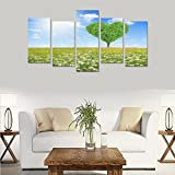 Hotel or Spa Wall Decorations Sunshine Heart Spring Love Daisy Tree Rooms Wall Paintings Living Room Canvas Prints Fashion Personalities Decor 5 Piece Canvas painting (No Frame)