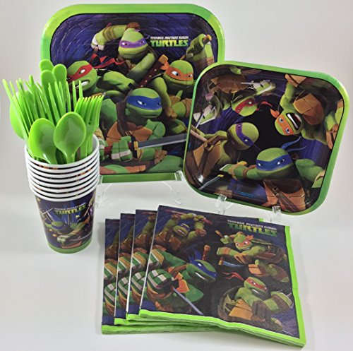 BashBox TMNT Teenage Mutant Ninja Turtles Birthday Party Supplies Pack Including Cake & Lunch Plates, Cutlery, Cups & Napkins for 8 Guests
