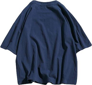 Rabbiter Camiseta básica de Lino y algodón de Color Liso para ...