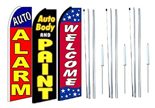 Pack of 3 Auto Alarm auto Body and painrt Welcome King Swooper Feather Flag Sign Kit with Complete Hybrid Pole Set