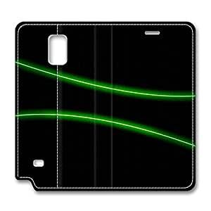 Samsung Galaxy Note 4 Leather Cases - NEW DESIGN LEATHER / Green Neon Light Folding Leather Folio Samsung Galaxy Note 4 Stand Case / Slim Fit Skin Cover for Samsung Galaxy Note 4