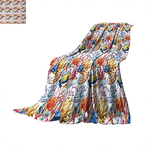 Anhuthree Fish Super Soft Lightweight Blanket Coral Reef Scallop Shells Fish Figures Sea Plants Polyp Murky Nautical Maritime Life Summer Quilt Comforter 60
