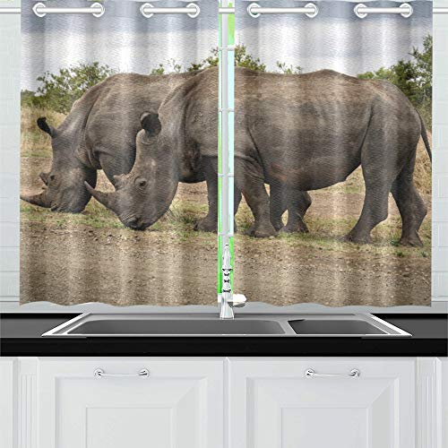 Two African Rhino On Gray Field Kitchen Curtains Window Curtain Tiers for Café, Bath, Laundry, Living Room Bedroom 26 X 39 Inch 2 Pieces