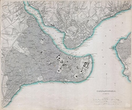 Historic Map | S.D.U.K. Map of Constantinople (Istanbul, Turkey) -, 1840 | Historical Antique Vintage Decor Poster Wall Art | 24in x ()