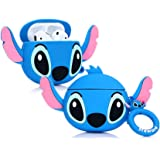 ZAHIUS Airpods Silicone Case Funny Cover Compatible for Apple Airpods 1&2 [3D Cartoon Pattern][Designed for Kids Girl and Boys](Big Ear Stitch Blue)