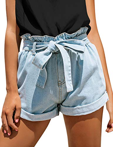 luvamia Women's Casual Bowknot Tie Waist Denim Jean Shorts with Pockets O Light Blue Size Large