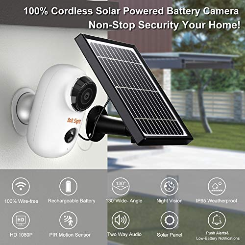 Outdoor Wireless Security Camera – Solar Cameras Battery Powered for Home – HD 1080P Rechargeable Power Operated Outside Camaras,Wirefree House Video Surveillance CCTV System 2-Way Audio,Night Vision