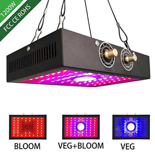 Grow Light for Indoor Plants – LED 1200W COB, Ajustable Full Spectrum Double Switch Plant Light Growing Lamps for Veg & Bloom(Dual-Chip 10W LEDs 56Pcs)