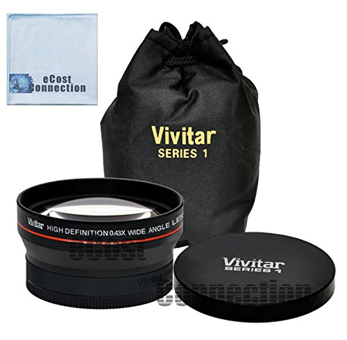 Vivitar Pro Series 72mm 0.43x Wide Angle High Definition Lens for Panasonic AG-AC130 AVCCAM HD AG-AC160A, AG-HMC150 and More Models + eCost Microfiber Cleaning Cloth
