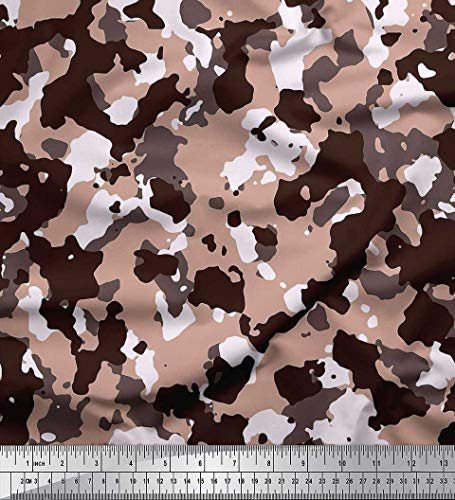 Soimoi Brown Modal Satin Fabric Two Tone with White Camouflage Print Fabric by The Yard 42 Inch Wide -