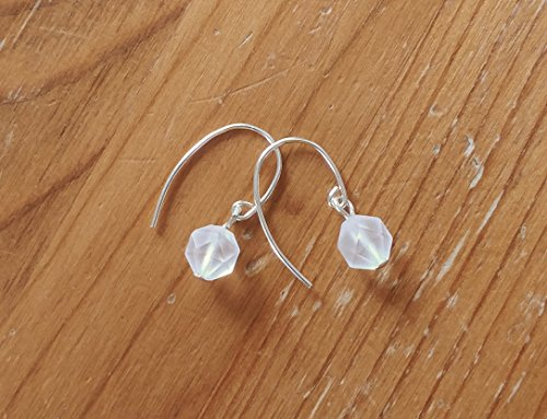Frosted Quartz Crystal Earrings - Rose Cut Crystal Earrings with Solid Sterling Silver 925 ear wires - Modern Minimal Style ()