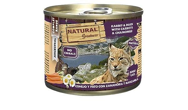 Natural Greatness Comida Húmeda para Gatos de Conejo y Pato con ...