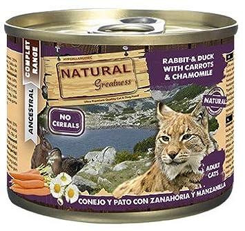 Natural Greatness Comida Húmeda para Gatos de Conejo y Pato con Zanahoria y Manzanilla. Pack de 6 Unidades. 200 gr Cada Lata: Amazon.es: Productos para ...
