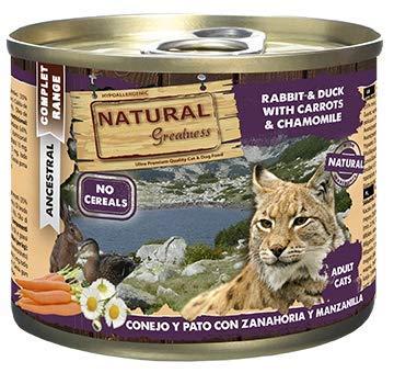 Natural Greatness Comida Húmeda para Gatos de Conejo y Pato con Zanahoria y Manzanilla. Pack de 6 Unidades. 200 gr Cada…