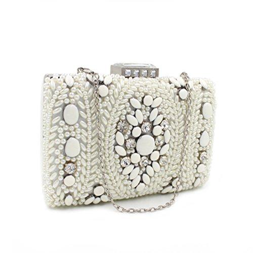 Weiß Party Hochzeit Brauttasche Damen Clutch Abendtasche mit Elegant Handtasche Perlen TzPaCq