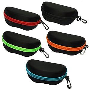 BIRCH's Portable Zipper Eye Glasses Sunglasses Hard Case Protector Box. Colored Zipper Line. (5 Color)