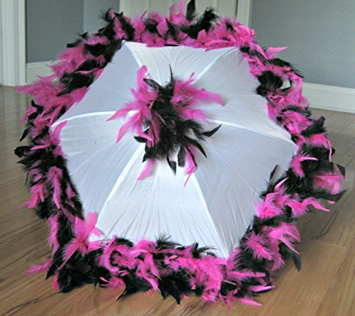 Second Line Umbrella Hot Pink and Black on White Parasol Flamingo Costume Dance Revue Prop ()