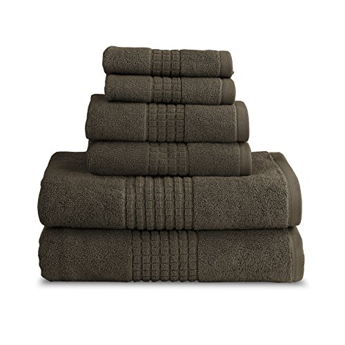 Luxor Linens New Arrival Ramina Hotel Collection 100% Cotton 650 GSM Luxury Solid Towel Sets - Soft, Durable, Plush, Absorbent & Quick Drying - 2 Sizes & 6 Colors Available - Graphite - 6-Piece by Luxor Linens