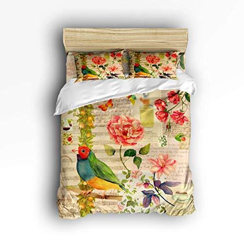 COVASA Luxury 4-Piece Bedding Set Bird Flower Old Music Notes Sheet Texture Duvet Covers Set Duvet Cover Bed Sheet Pillow Cases Queen Pattern