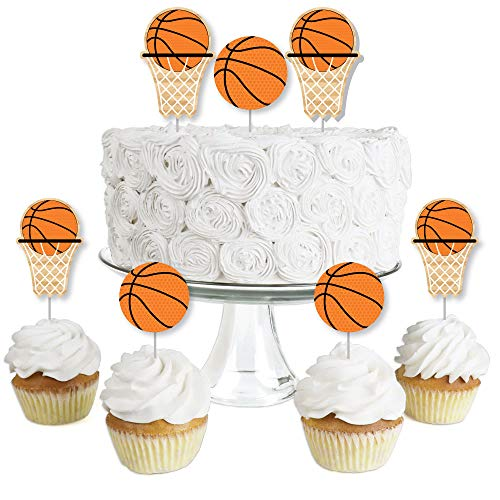 Nothin' But Net - Basketball - Dessert Cupcake Toppers - Baby Shower or Birthday Party Clear Treat Picks - Set of 24