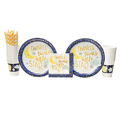 Nursery Rhyme Plate - Twinkle Little Star Party Supplies Pack for 16 Guests: Straws, Dinner Plates, Luncheon Napkins, and Cups