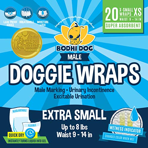 Bodhi Dog Disposable Male Dog Wraps | 20 Premium Quality Adjustable Doggie Wraps with Moisture Control and Wetness…