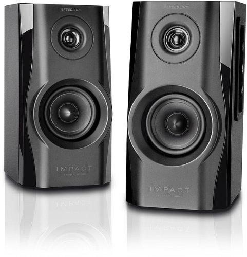 Speedlink Aktives Lautsprechersystem - IMPACT Stereo Speaker 3,5mm (Bassreflex-Ö ffnung fü r beste Tiefton-Leistung - Frequenzgang von 80Hz bis 18kHz - ideal fü r Spiele, Musik und Filme) fü r Computer / Laptop schwarz SL-8144-BK-01