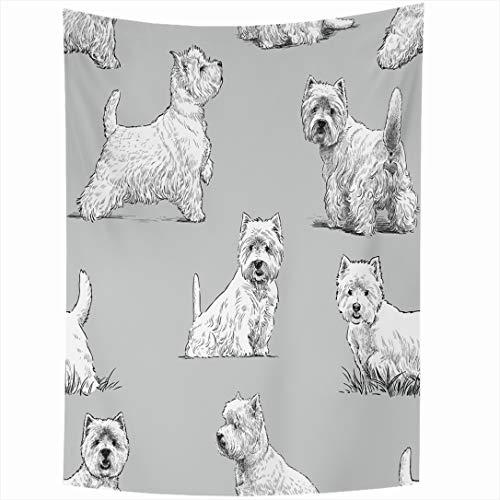Ahawoso Tapestry 60x90 Inch Sketch Scottish Terrier Pattern Dog Nature Shaggy Cute Sitting Canine Domestic Drawn Design Mammal Wall Hanging Home Decor for Living Room Bedroom Dorm